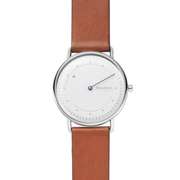 SKAGEN GENTS WHITE DIAL BROWN LEATHER STRAP WATCH