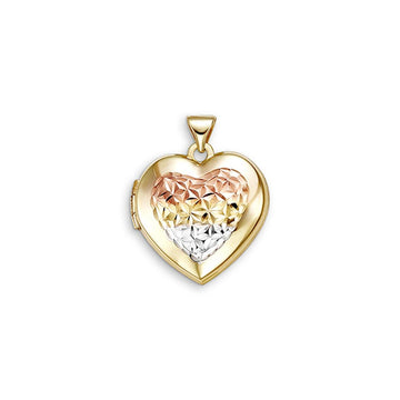 BELLA SENTIMENTS 10K TRI-TONE HEART HAMMERED LOCKET NECKLACE