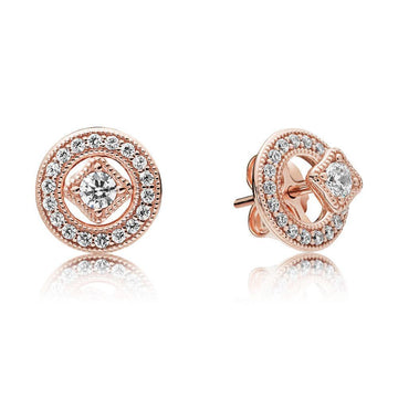 PANDORA ROSE VINTAGE ALLURE CZ STUD EARRINGS