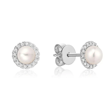 RNB 10K GOLD WHITE PEARL DIAMOND STUD EARRINGS