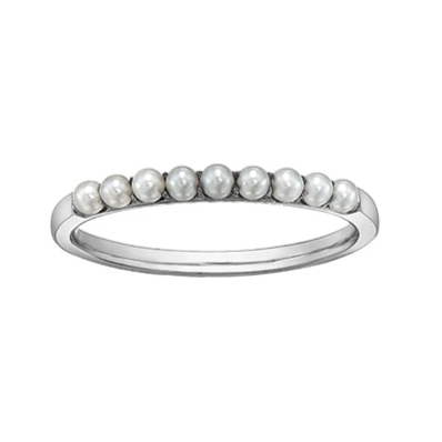 10K WHITE GOLD PEARL RING