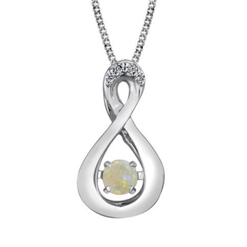 PULSE 10K WHITE GOLD BIRTHSTONE DIAMOND NECKLACE