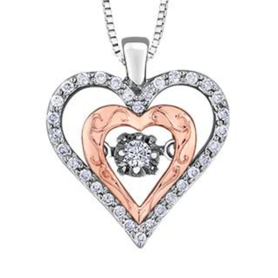PULSE 10K GOLD AND SILVER DIAMOND HEART NECKLACE