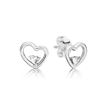 PANDORA ASYMMETRIC HEARTS OF LOVE CZ STUD EARRINGS - Appelt's Diamonds