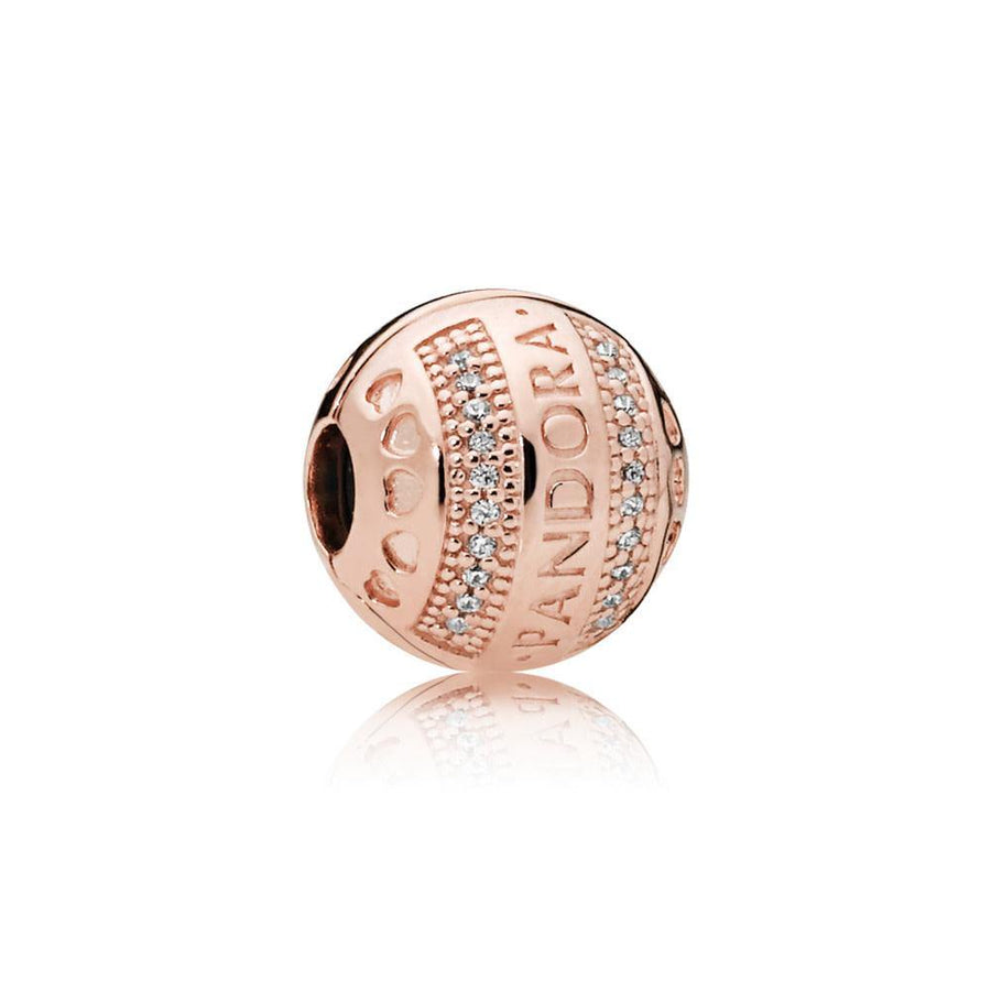 PANDORA ROSE GOLD PLATED LOGO HEARTS CLIP