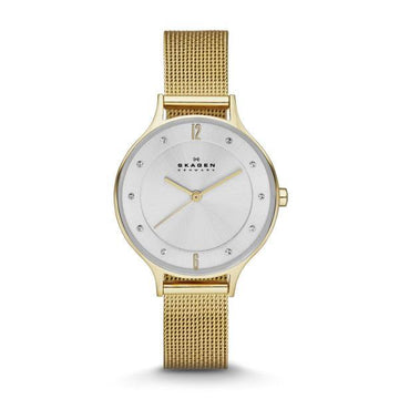 SKAGEN LADIES SILVER DIAL GOLD WATCH