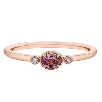 10K ROSE GOLD 0.015CTW DIAMOND AND PINK TOURMALINE RING - Appelt's Diamonds
