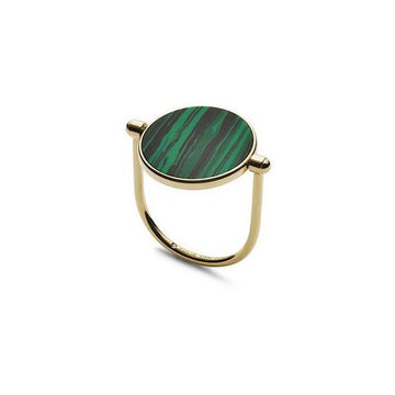 FOSSIL GOLD RING WITH GREEN ACETATE DISC