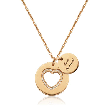 STEELX DOUBLE DISC HEART ROSE PLATED NECKLACE