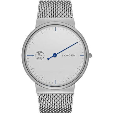 SKAGEN GENTS WHITE DIAL WITH SILVER MESH BRACELET