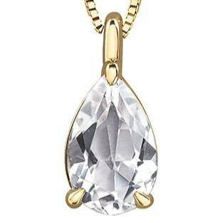 FOREVER JEWELLERY 10K YELLOW GOLD WHITE TOPAZ NECKLACE