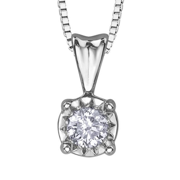 14K WHITE GOLD 0.10 DIAMOND STARBURST NECKLACE - Appelt's Diamonds
