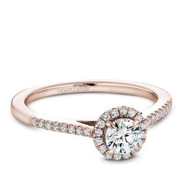 NOAM CARVER 14K ROSE GOLD 0.25 ROUND DIAMOND HALO ENGAGEMENT RING
