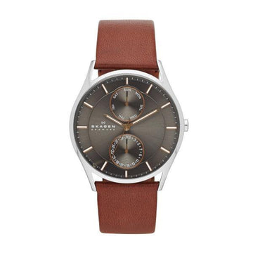 SKAGEN GENTS BLACK & SILVER DIAL WITH BROWN STRAP