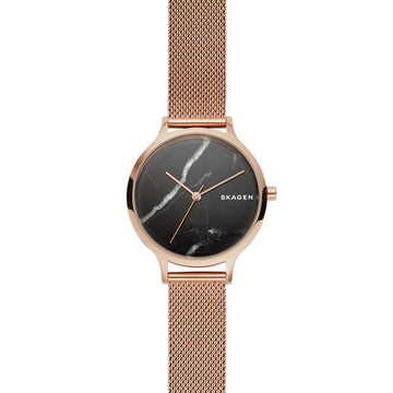 SKAGEN LADIES BLACK MARBLE DIAL ROSE GOLD MESH WATCH