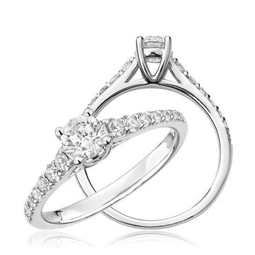 14K GOLD 0.19 ROUND DIAMOND ENGAGEMENT RING
