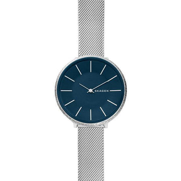 SKAGEN LADIES NAVY DIAL SPARKLE BEZEL SILVER MESH WATCH