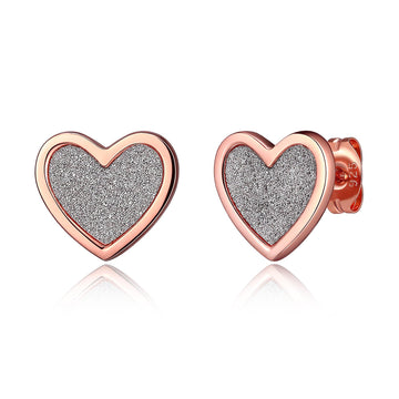 ROSE GOLD PLATED GLITTER HEART STUDS
