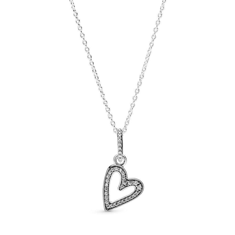 PANDORA SPARKLING FREEHAND HEART CZ NECKLACE