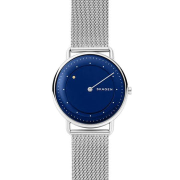 SKAGEN GENTS BLUE DIAL WITH SILVER MESH STRAP WATCH