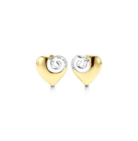 BELLA 10K YELLOW AND WHITE HEART SWIRL STUD EARRINGS