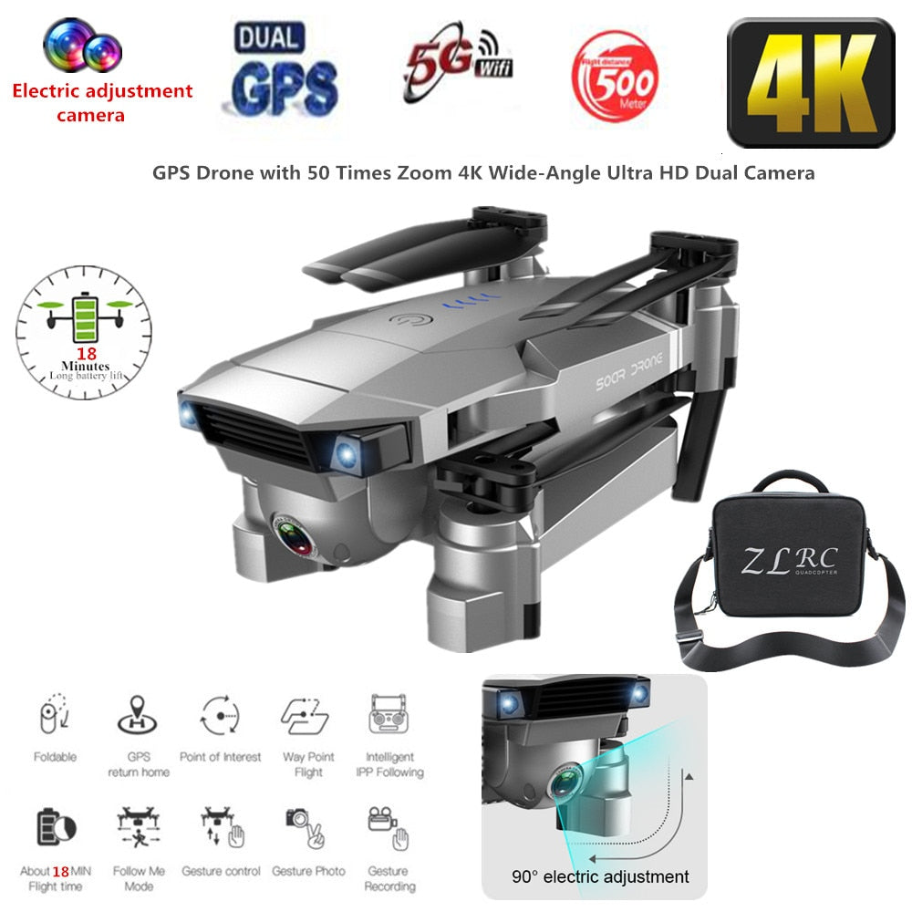 Best Drone GPS 4K 16MP HD Camera 5G Follow me WIFI FPV RC Quadcopter Foldable Selfie Live Video Altitude Hold Auto Return