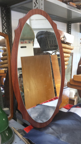 Oval Oak Framed Mirror - 1