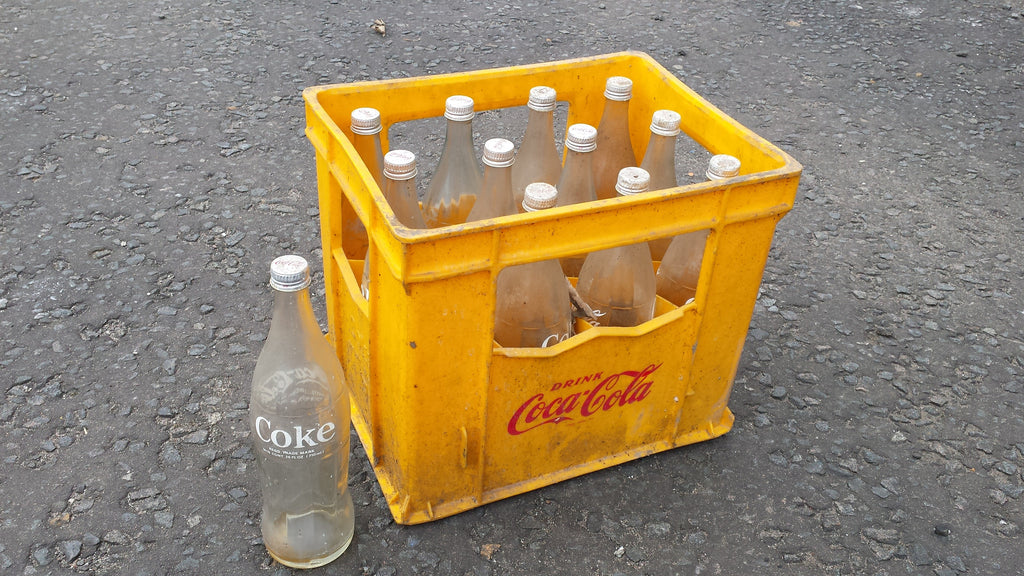 Retro Coca-Cola Crates with Bottles - Yellow