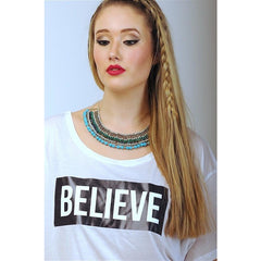 """I Love Me"" Collection - 'BELIEVE' White Cropped Top"