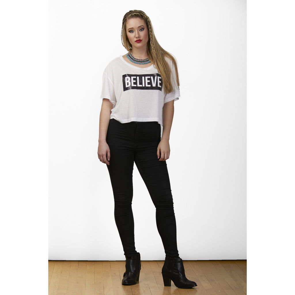 """I Love Me"" Collection - 'BELIEVE' White Cropped Top - KryptikRose®"