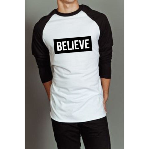 """I Love Me"" Collection - 'BELIEVE' Baseball Long Sleeve Tee - Long Sleeve Tee - KryptikRose®"