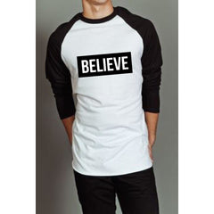 """I Love Me"" Collection - 'BELIEVE' Baseball Long Sleeve Tee"