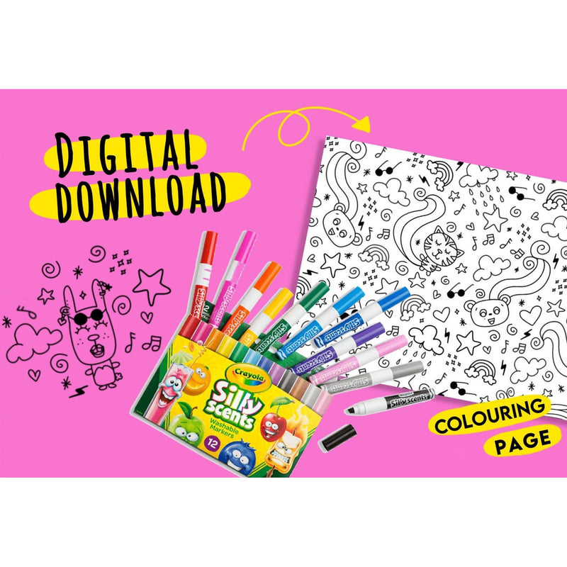 Kawaii Doodle Dreams - Printable Colouring Page - Digital Download -  - KryptikRose®