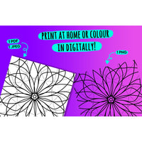 Floral Mandala 2 - Printable Colouring Page - Digital Download -  - KryptikRose®