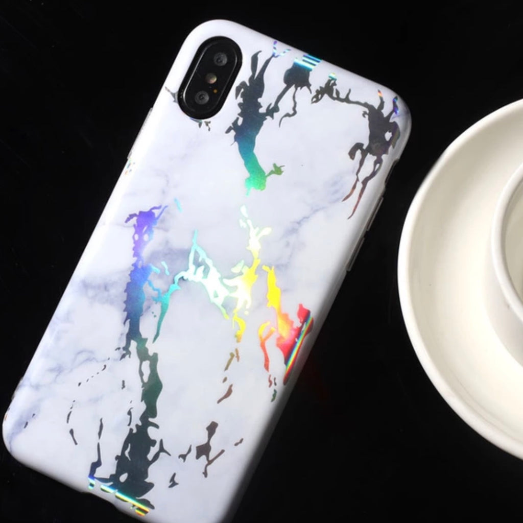 Crackle/Marble Holographic iPhone Case - White (2 Sizes) - Case - KryptikRose®