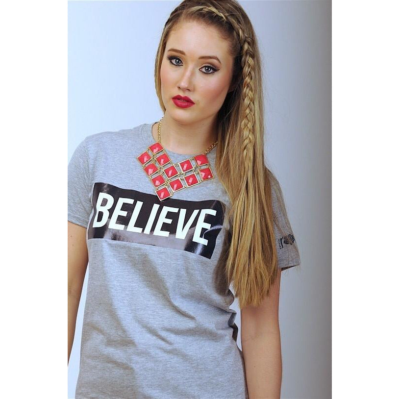 """I Love Me"" Collection - 'BELIEVE' Grey Tee - T-Shirts - KryptikRose®"