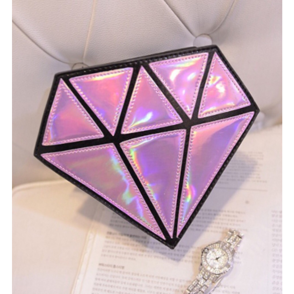 Diamond Clutch Bag - Pink Holographic - KryptikRose®