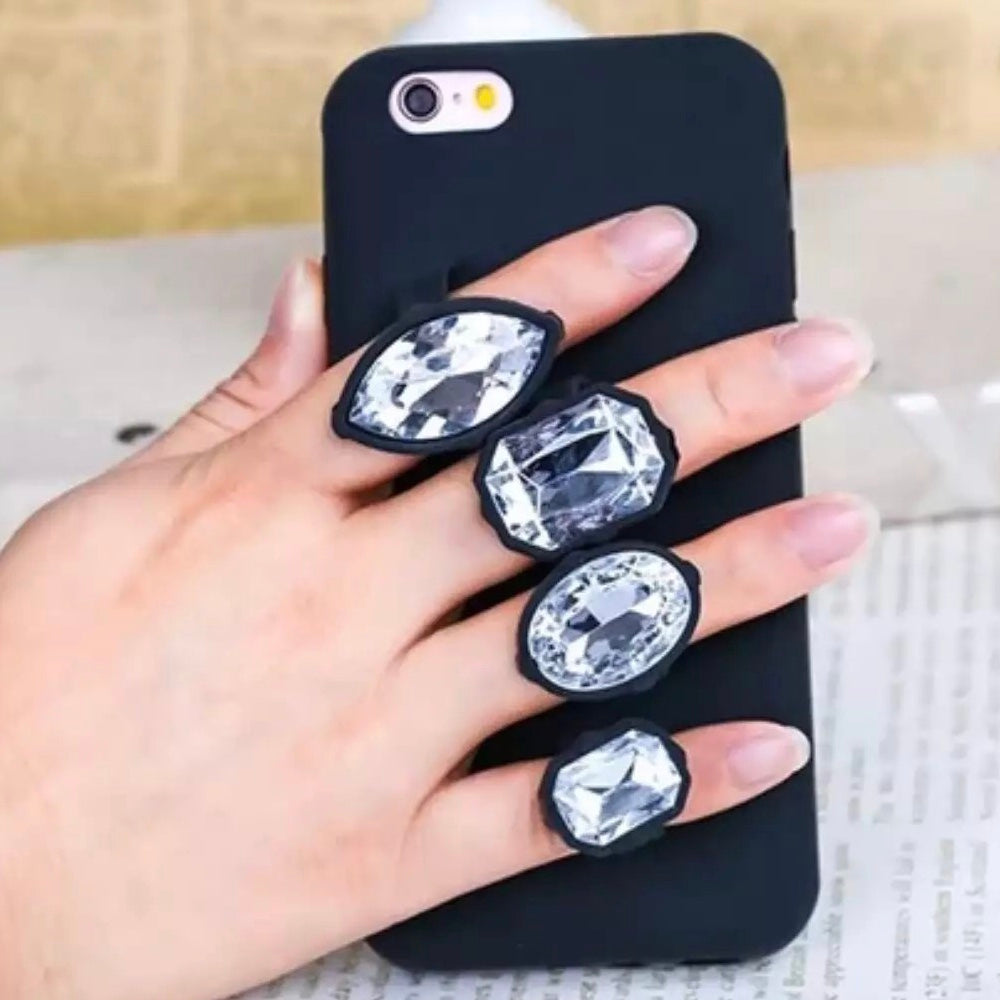 Faux Diamond Ring Siicone Phone Case (2 Sizes) - Case - KryptikRose®