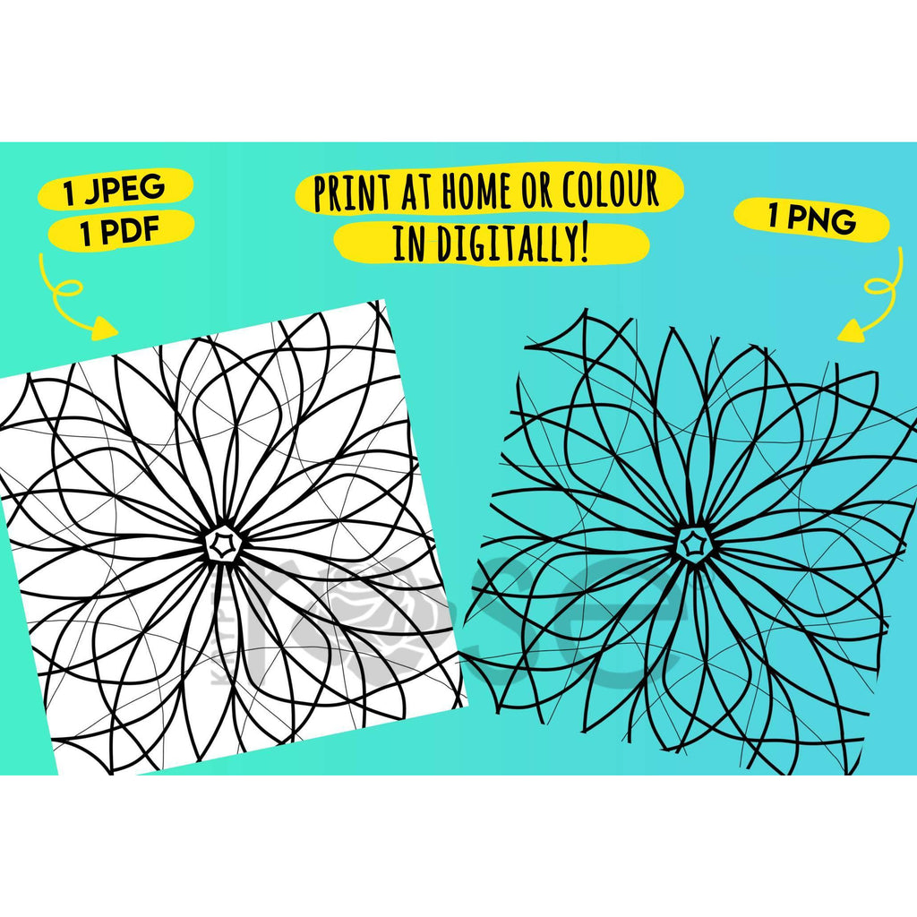 Floral Mandala 10 Page Colouring Book & Wall Decor - printables - KryptikRose®