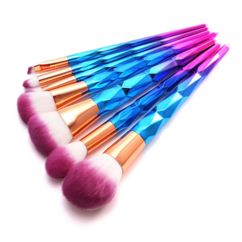 Diamond Blue-Pink Ombre with Purple Dip Dye Bristles Make-Up Brush Set (7pcs) - Cosmetics - KryptikRose®