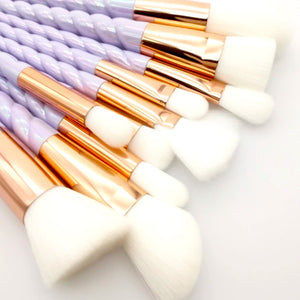Unicorn Purple Iridescent Makeup Brush Set (10pcs) - Cosmetics - KryptikRose®