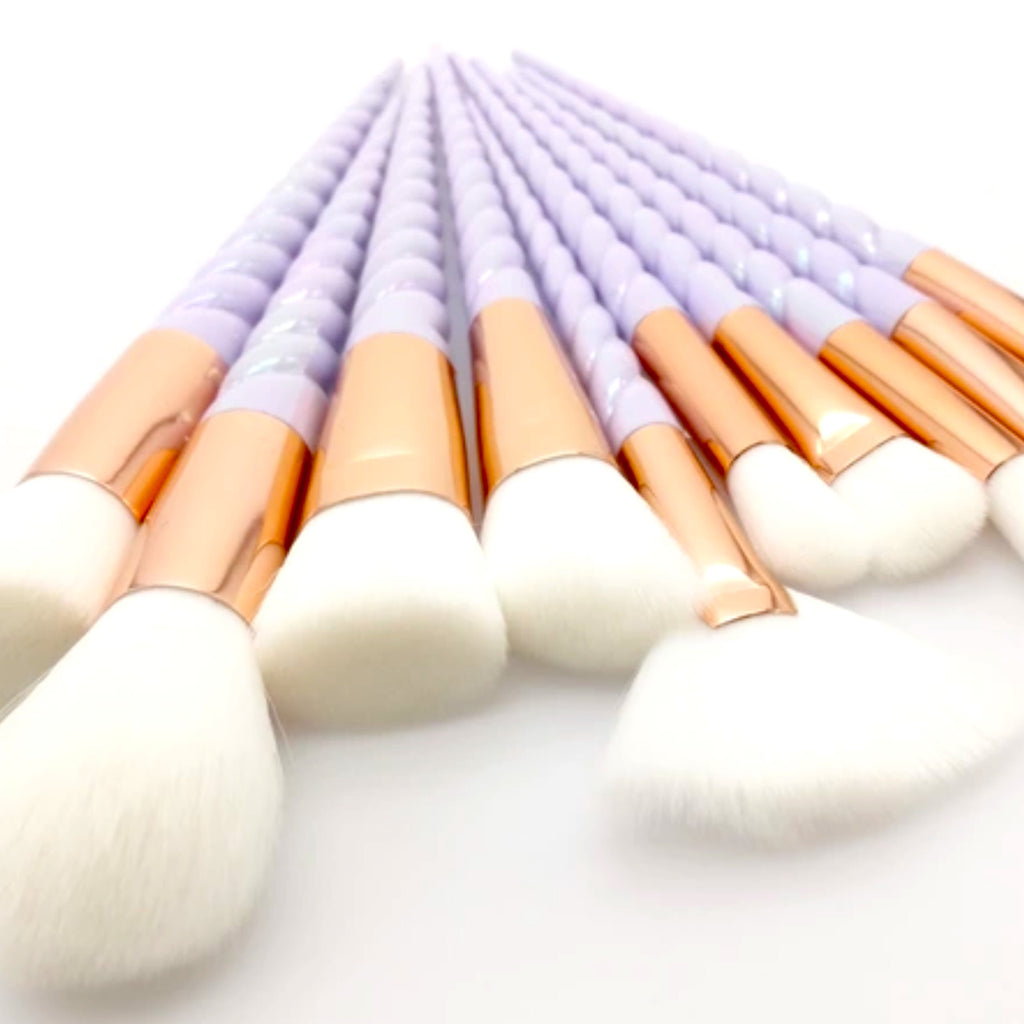 Unicorn Purple Iridescent Makeup Brush Set (10pcs) - KryptikRose®