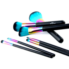 Rainbow/Teal Bristle Makeup Brush Set (7pcs) - Cosmetics - KryptikRose®