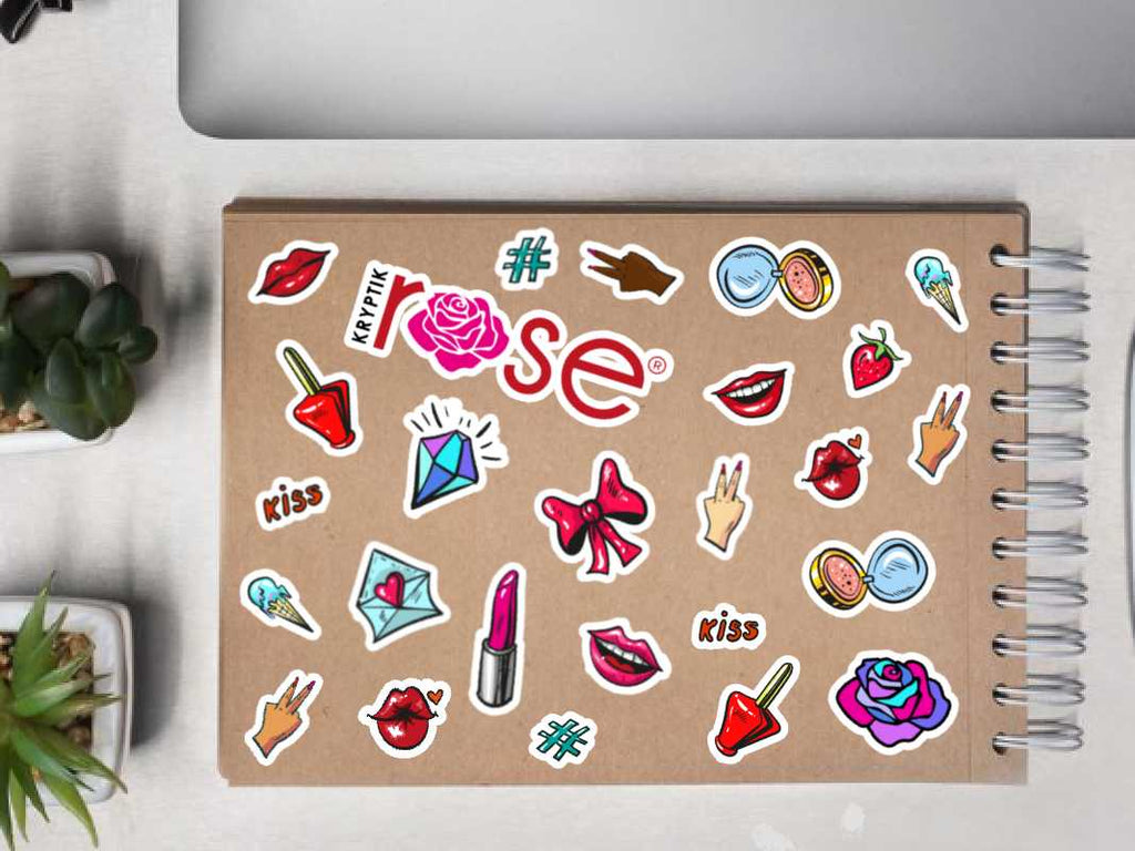 """Lippy & Roses"" Pink & Red Bubble-Free Sticker Sheet (18 Stickers) -  - KryptikRose®"