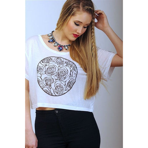 """I Love Me"" Collection - MONO ROSE WHITE Crop Top - Crop Tops - KryptikRose®"