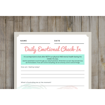 Emotional Check-In Printable Worksheet - FREEBIE -  - KryptikRose®