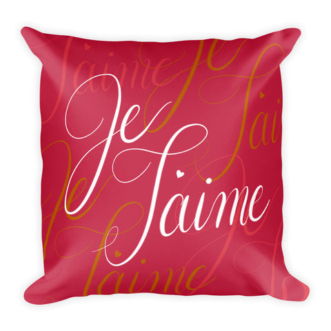 """Je T'aime"" Square Cushion/Pillow"