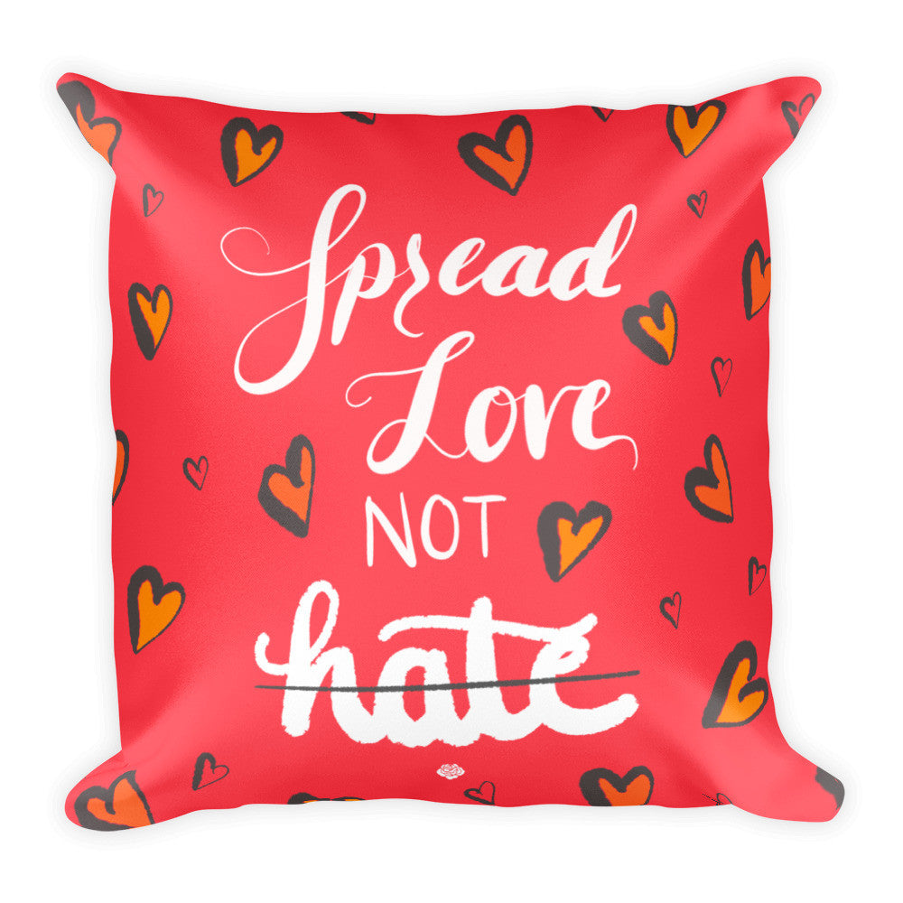 """Love not Hate"" Square Cushion/Pillow - Homeware - KryptikRose®"