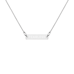 'Fearless' Engraved Bar Chain Necklace (4 Finishes) - Bar Jewellery - KryptikRose®