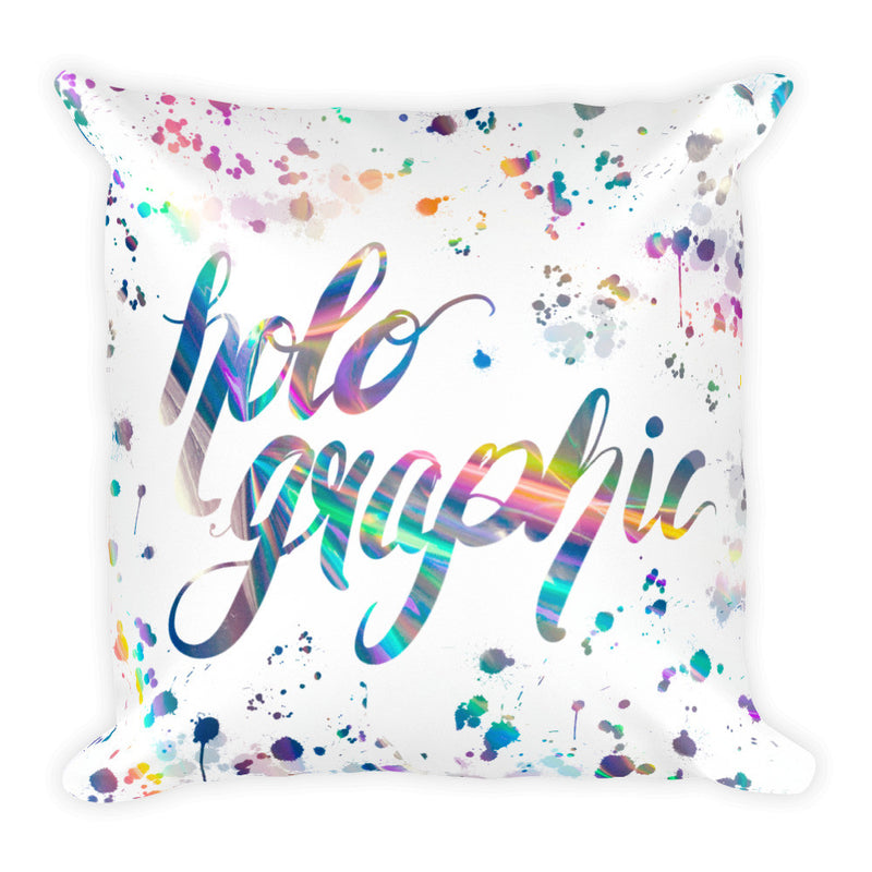 """Holo Rainbow Print"" Square Cushion/Pillow - Homeware - KryptikRose®"